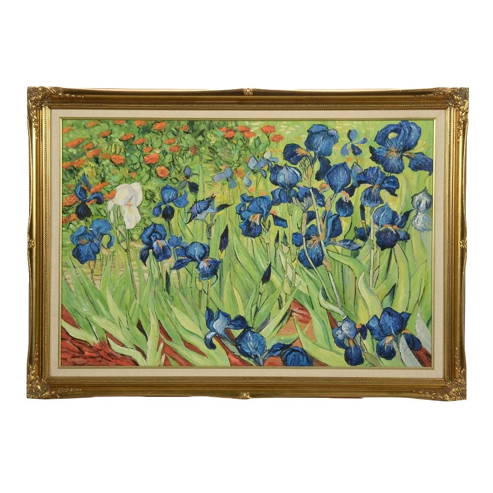 "Oil Copy Painting on Canvas after Vincent van Gogh ""Irises"""
