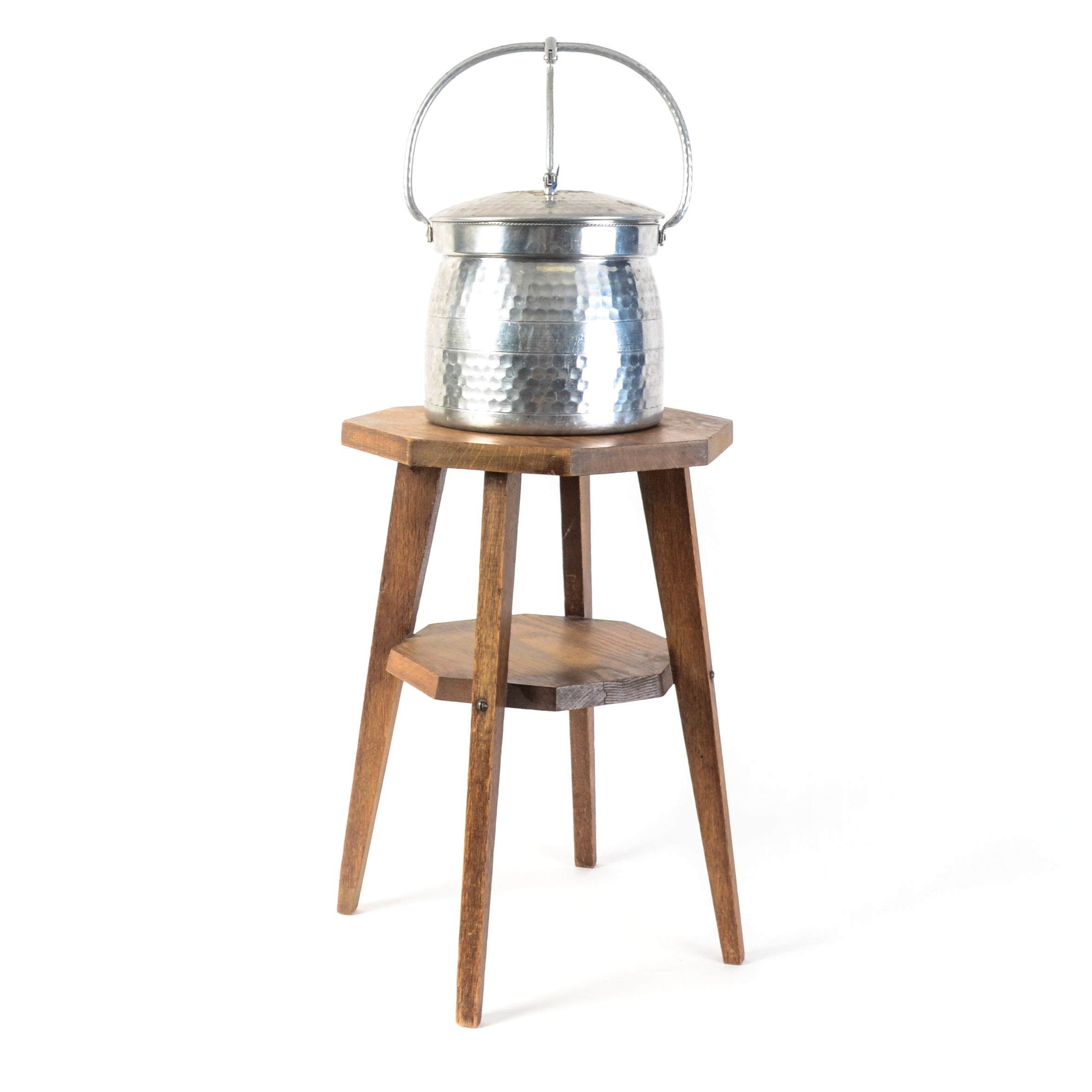 Cromwell Aluminum Ice Bucket and Wooden Stool