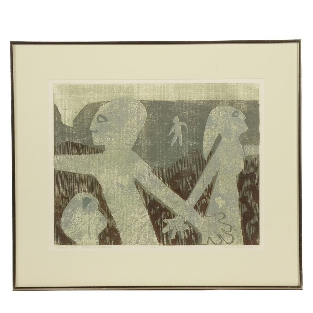 """Barbara Young Signed Limited Edition Block Relief Print """"Game of Hearts - Contemporary Family"""""""