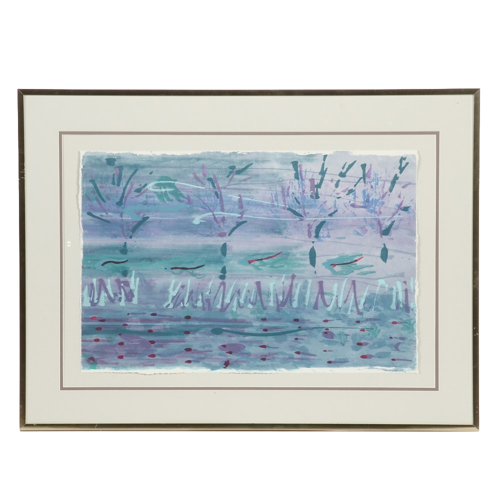 """Terry P. Corcoran Mixed Media Monoprint """"Chorus in the Current"""""""