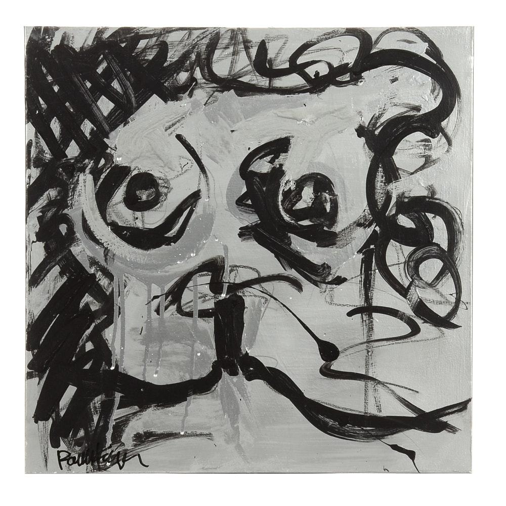 """Robbie Kemper Original Acrylic on Canvas """"Silver Nude III"""""""