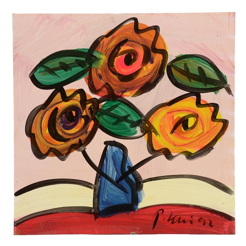 """Peter Keil Original 1992 Expressionist Oil on Masonite """"Blumen aus Berlin"""""""