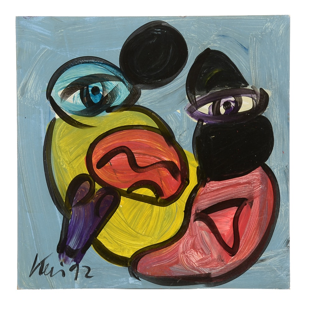 """Peter Robert Keil Original Oil Painting on Board """"Picasso"""""""