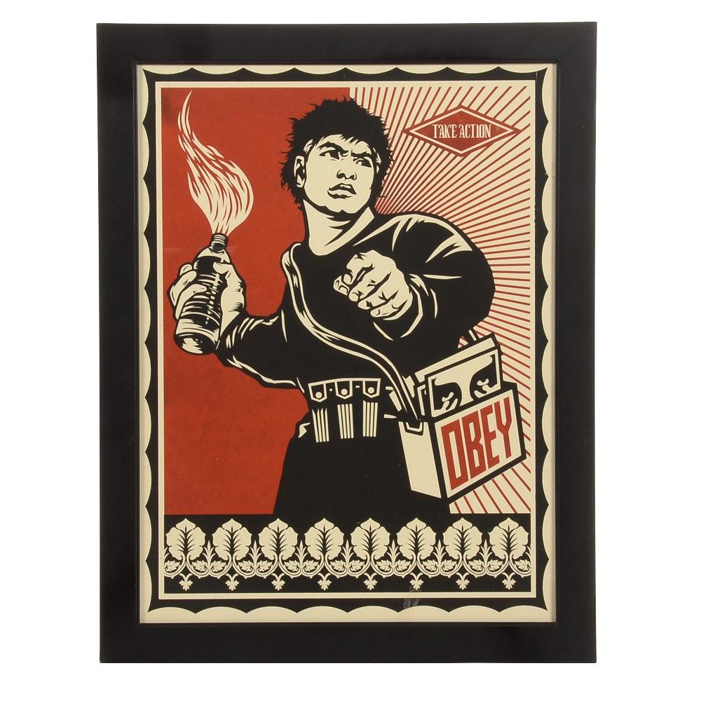 "Serigraph of Shepard Fairey's ""Molotov Man"""