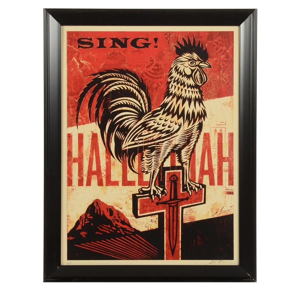 "Shepard Fairey Signed Artist's Proof Serigraph ""Jesus' Chariot"""