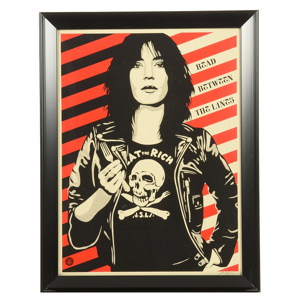 """Shepard Fairey Signed Limited Edition Serigraph """"Read Between the Lines"""""""