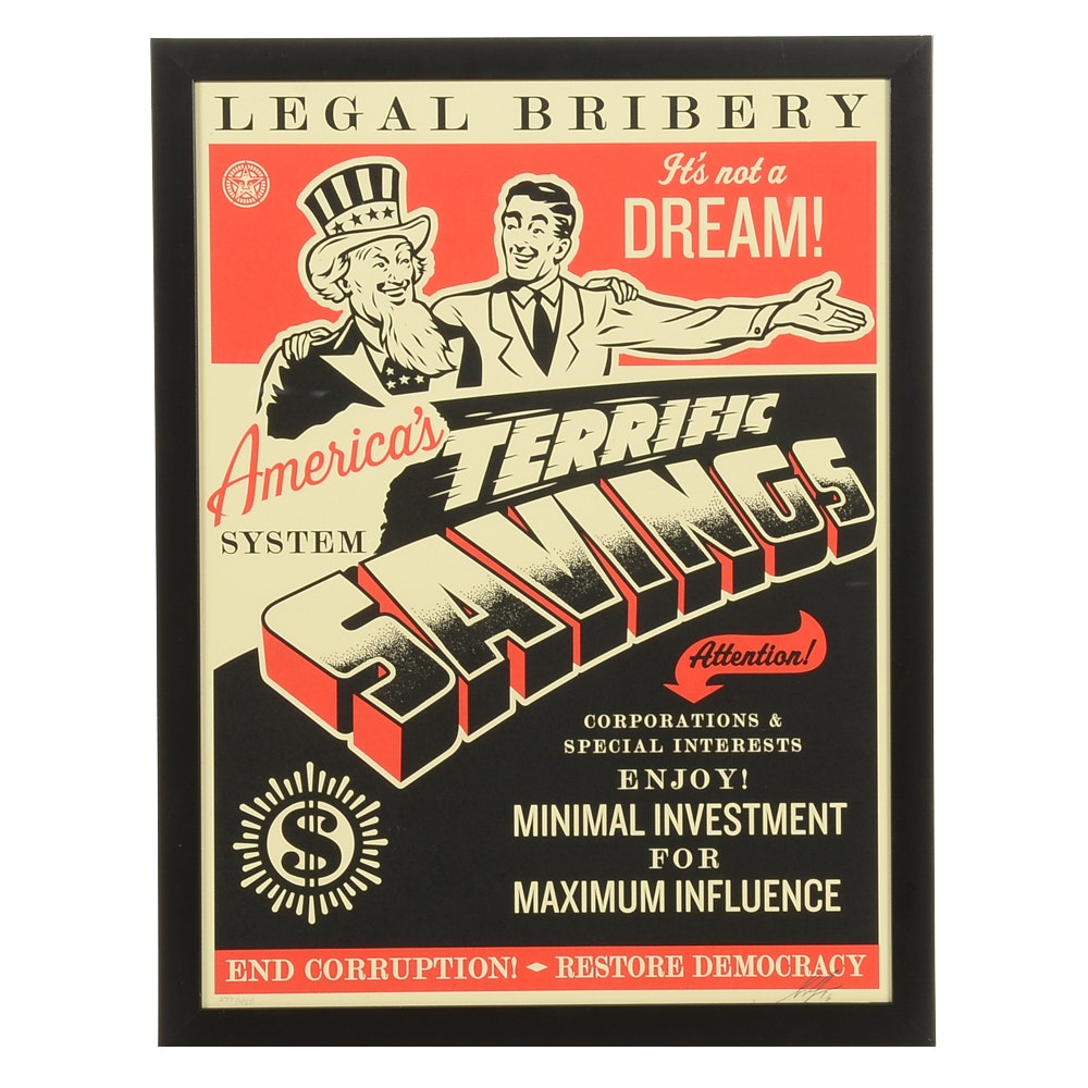 """Shepard Fairey Signed Limited Edition Serigraph """"America's Savings"""""""