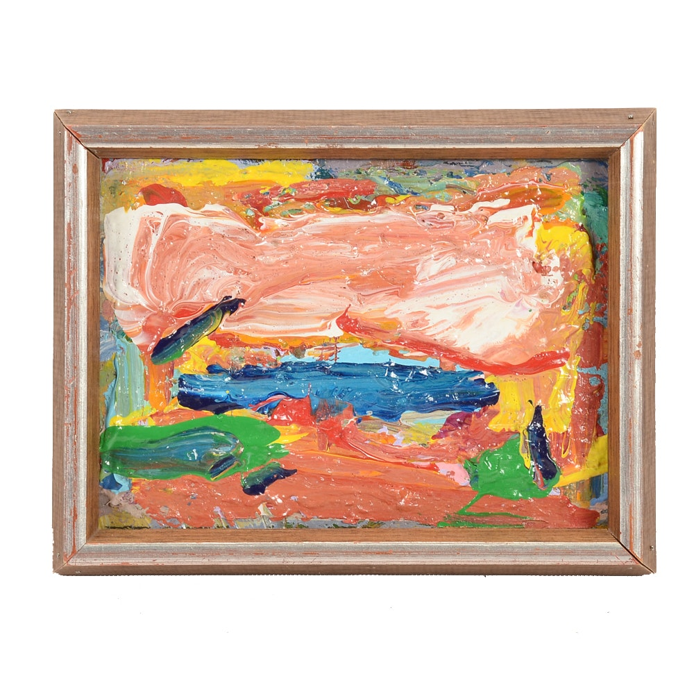 "Paul Chidlaw Original Oil Painting on Canvas Board ""Sea Breeze"""
