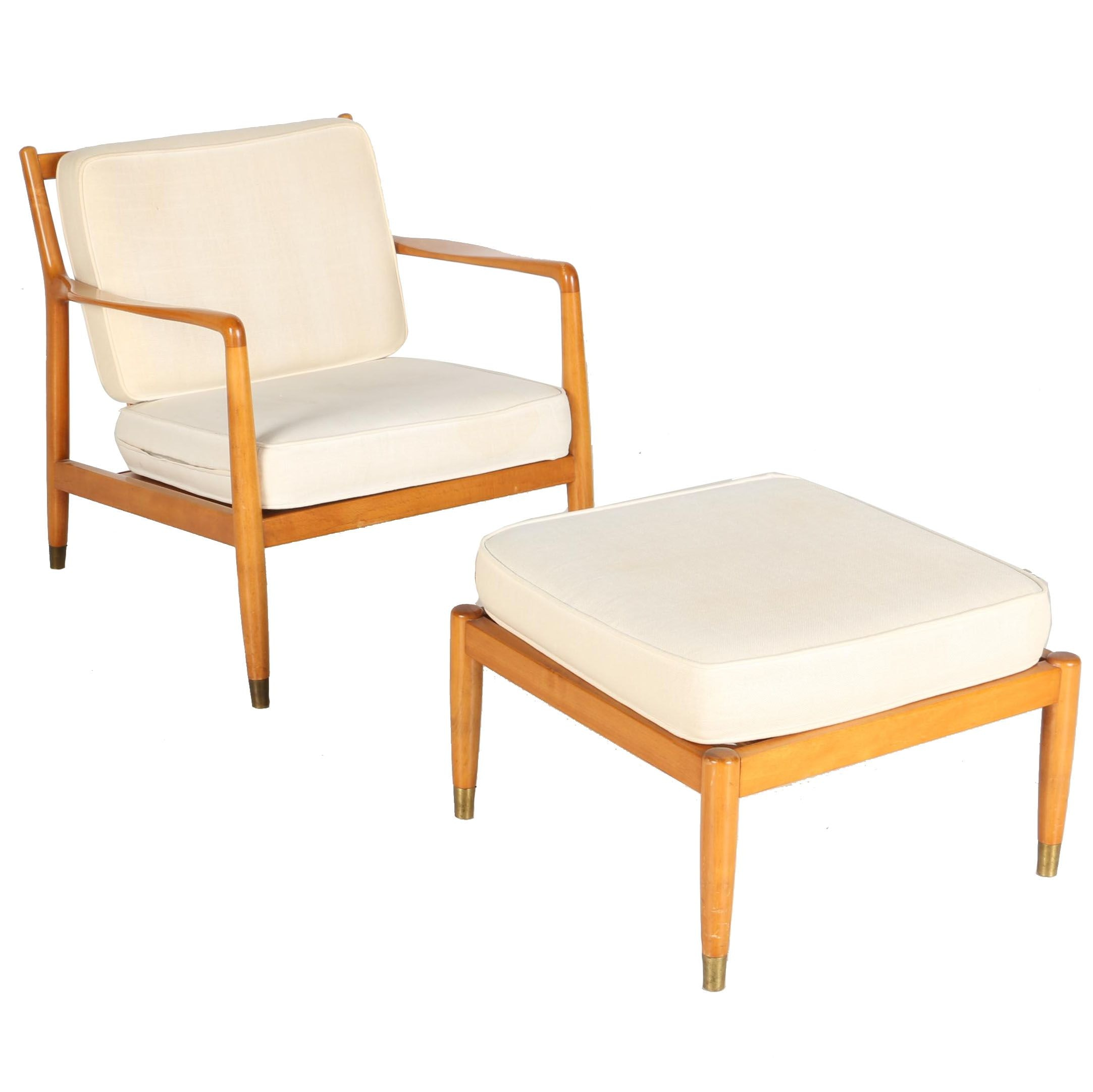 White Danish Modern Chair with Matching Ottoman
