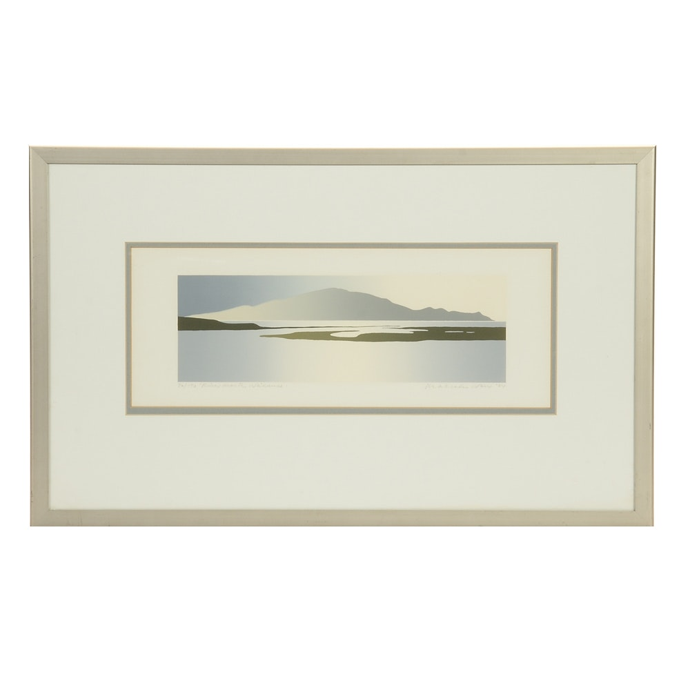 "Malcolm Warr Signed Limited Edition Serigraph ""River Mouth, Waikanae"""