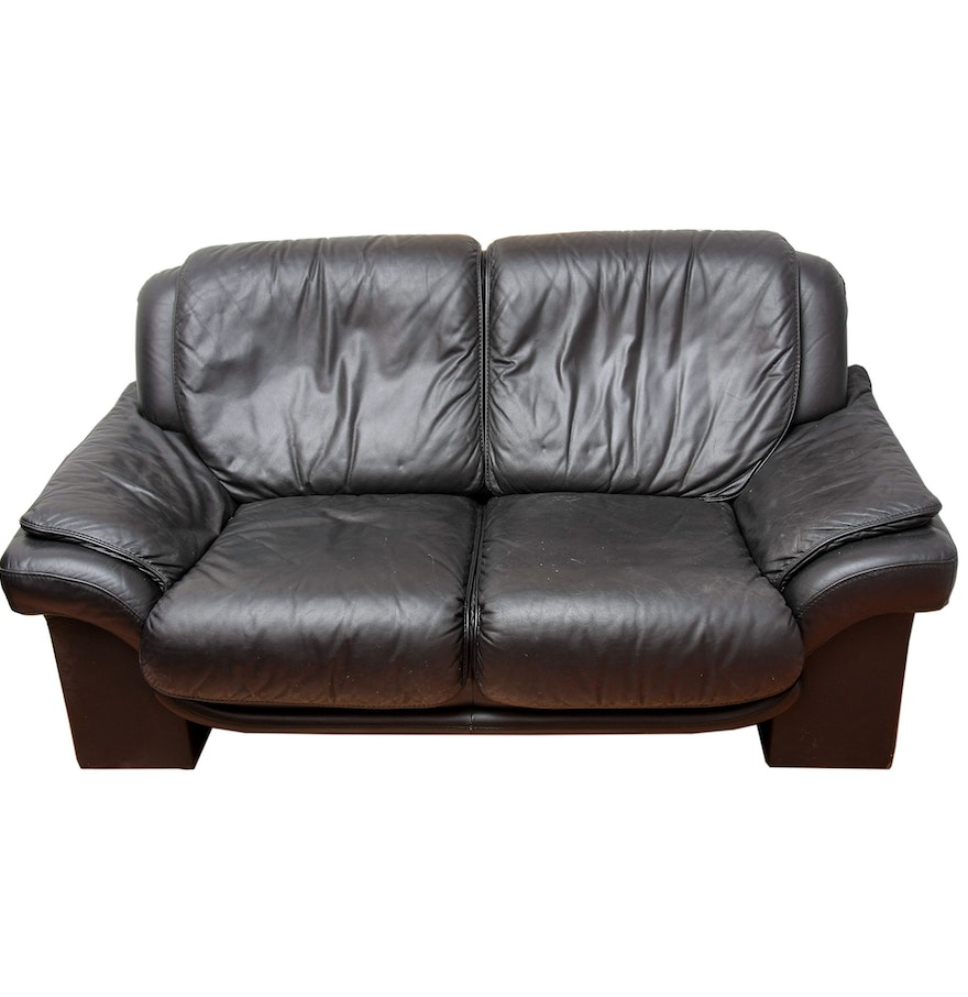 contemporary leather loveseat  ebth. contemporary leather loveseat