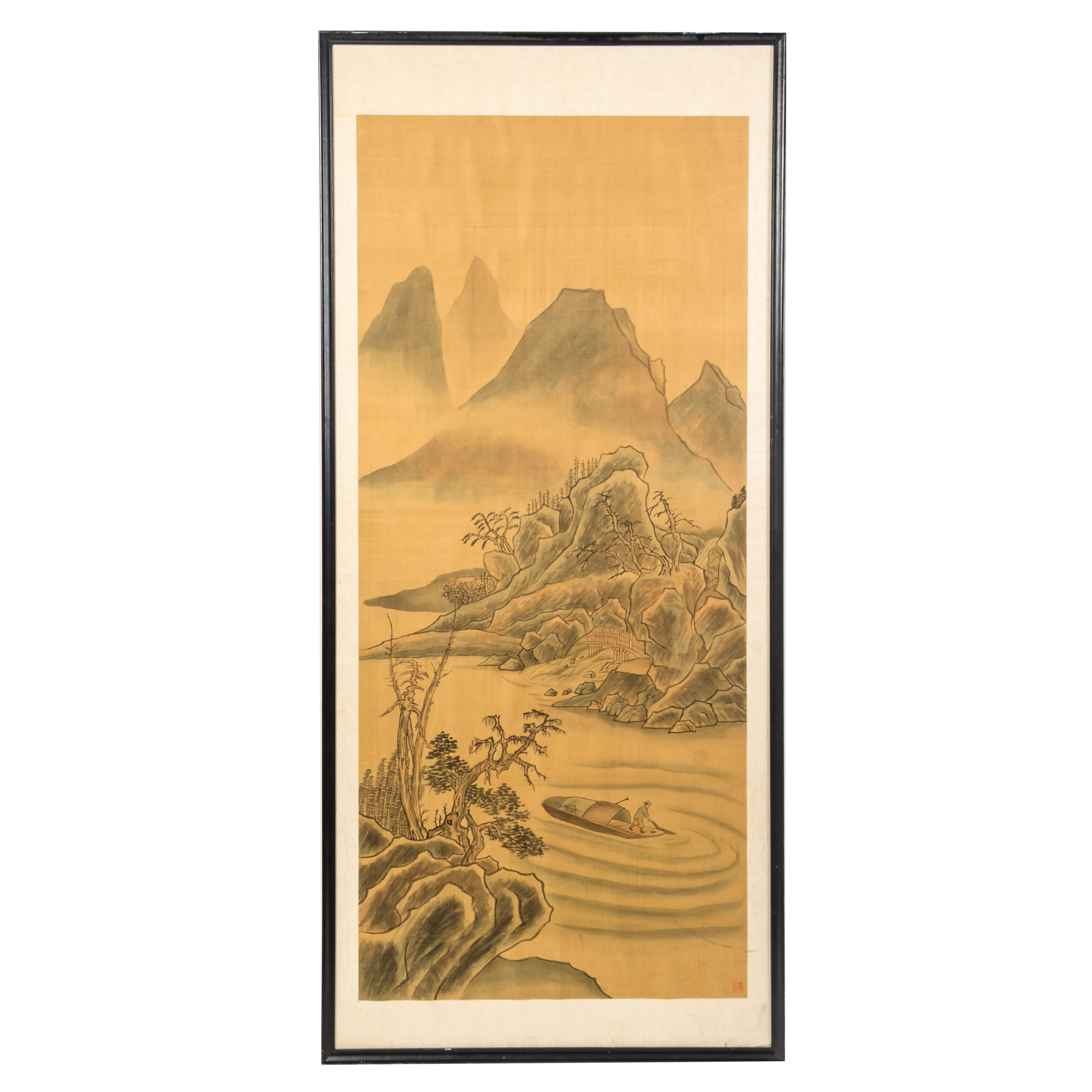 East Asian Ink Wash Painting of a Fisherman