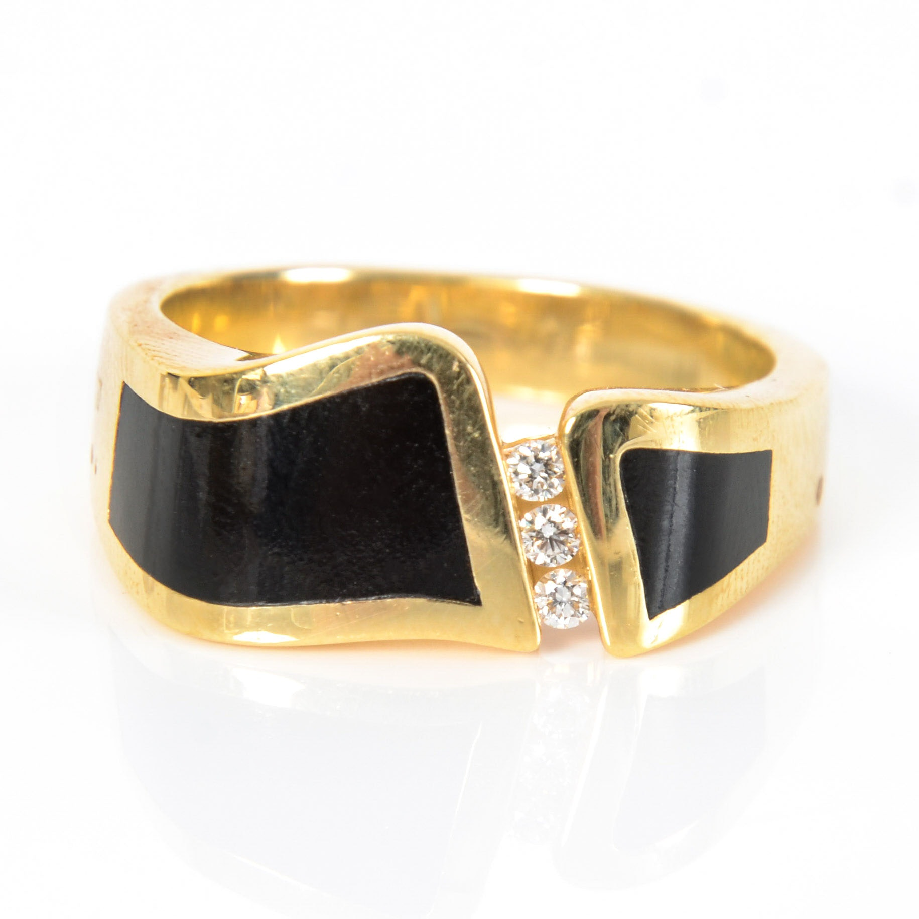 Bernard K Passman 18K  Gold Ring with Black Coral and Diamonds