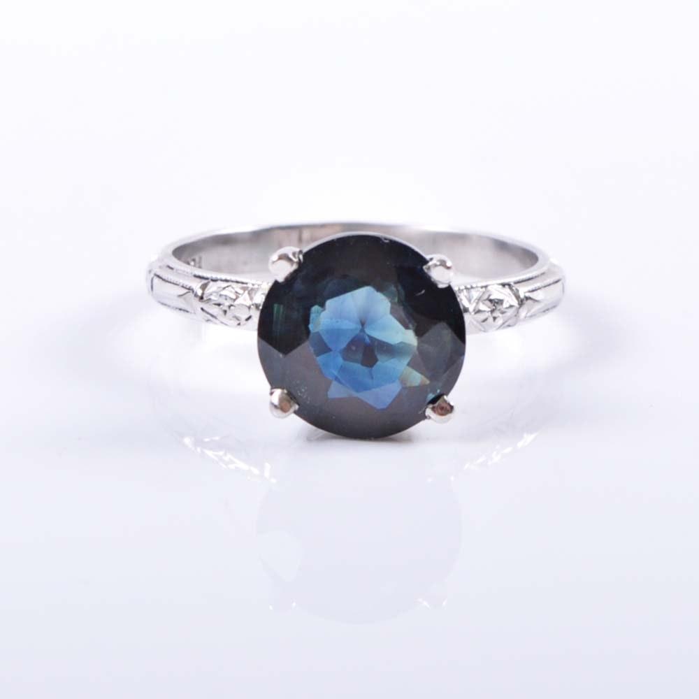 Platinum 3.02 Carat Sapphire Solitaire Ring