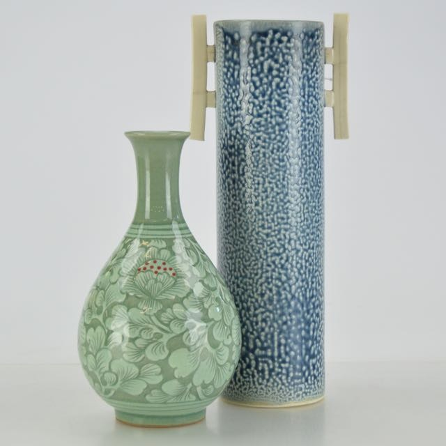 A Korean Celadon Vase and Asian Inspired Cylindrical Vessel