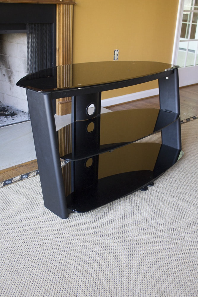 Three-Tiered Glass Entertainment Stand