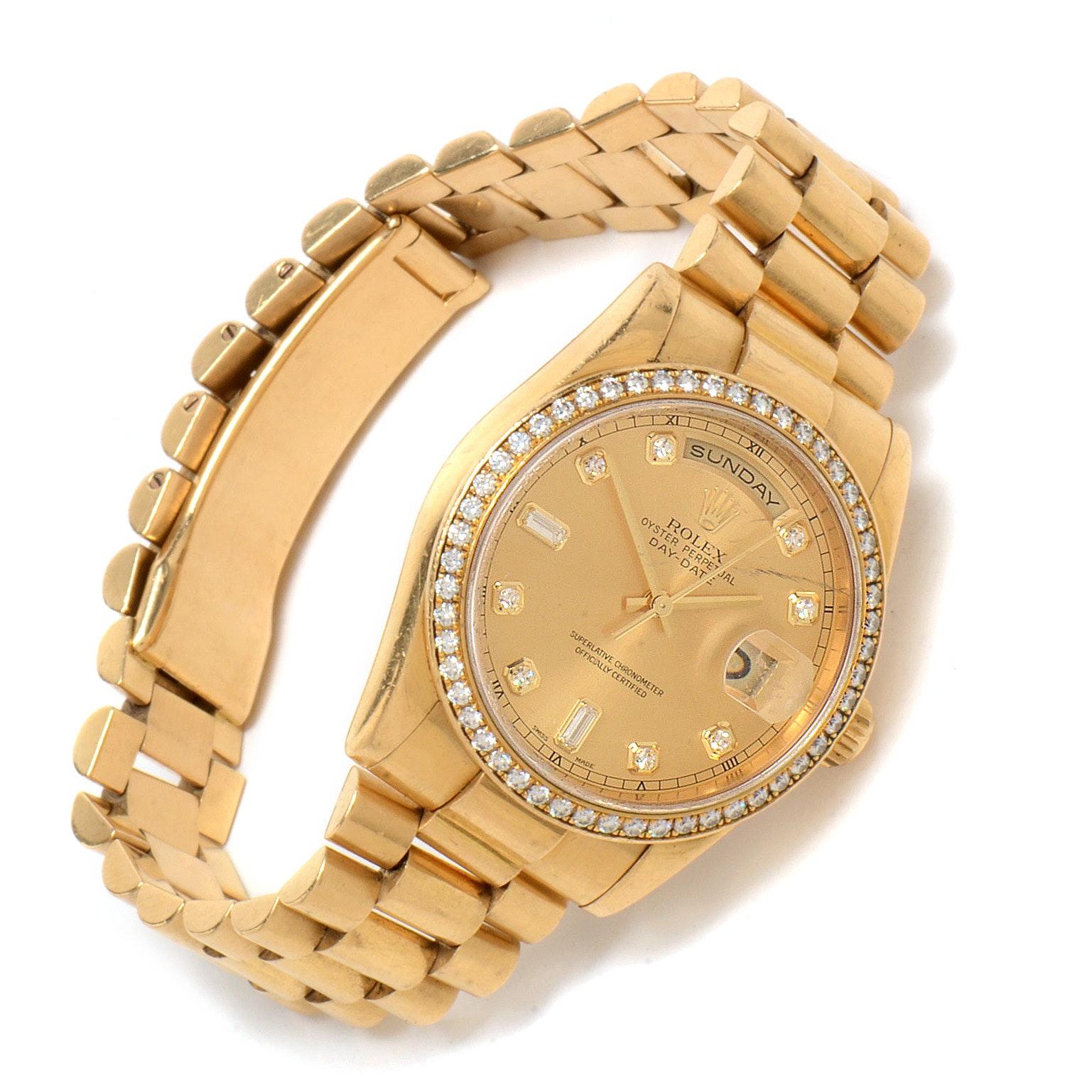 Rolex 18K Yellow Gold Diamond Day-Date President Wristwatch