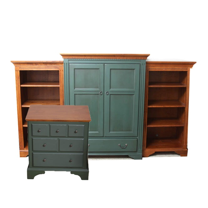 Ethan Allen Television Armoire With Matching Bookcases and End Table
