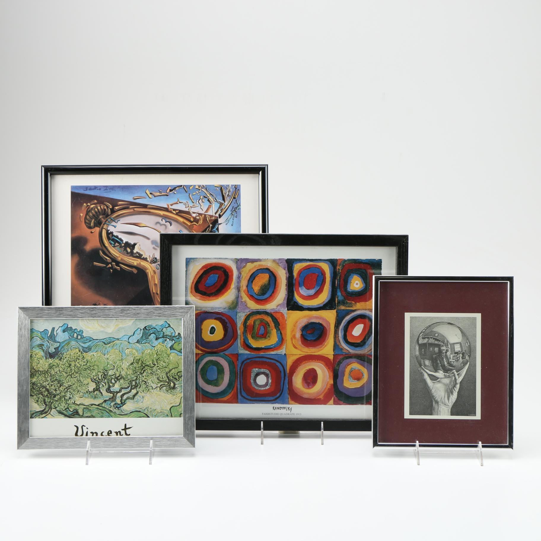 Four Offset Lithographs After Works by Van Gogh, Kandinsky, Escher and Dali