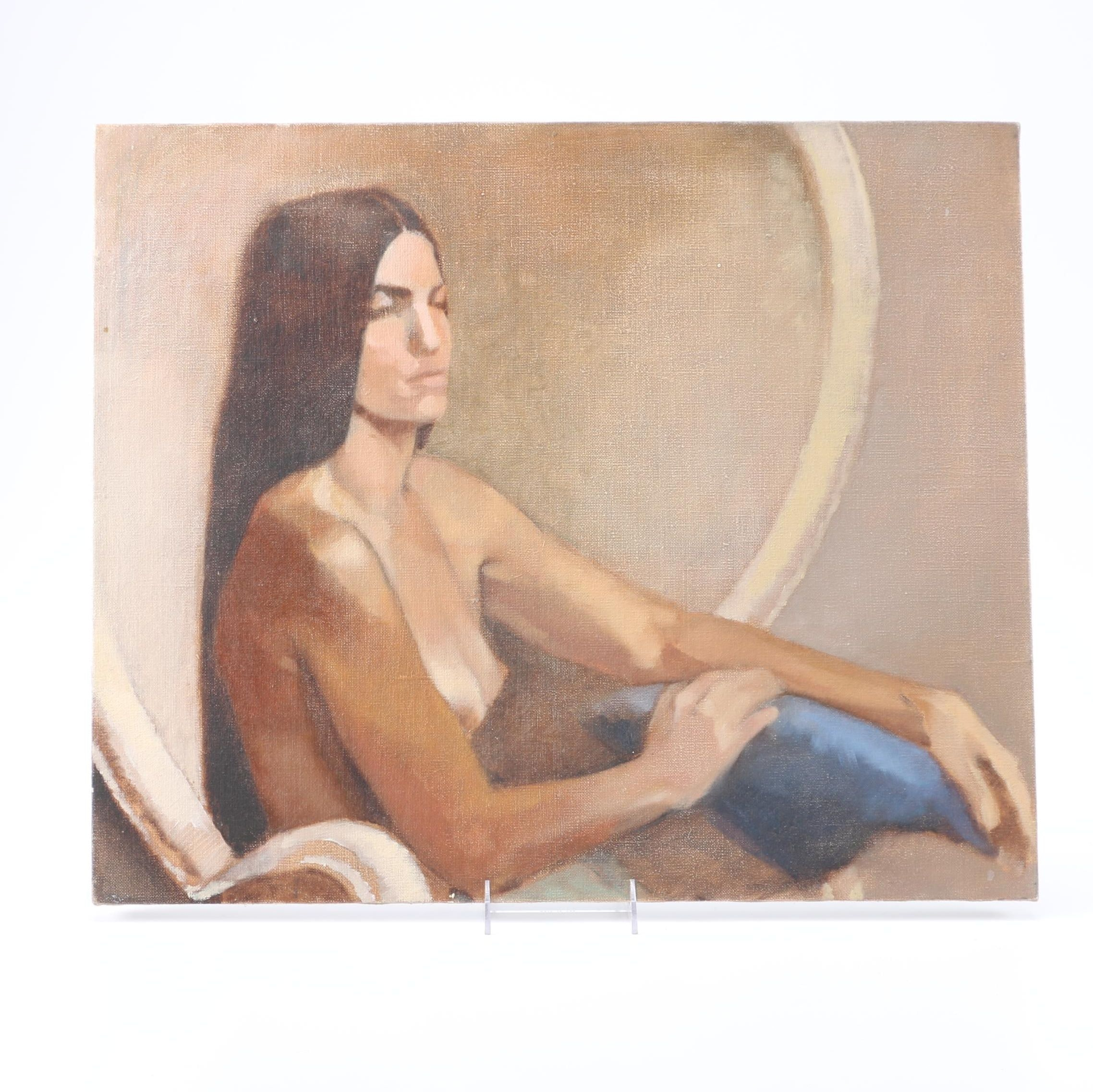 Acrylic on Stretched Canvas of a Nude Woman in a Peacock Chair