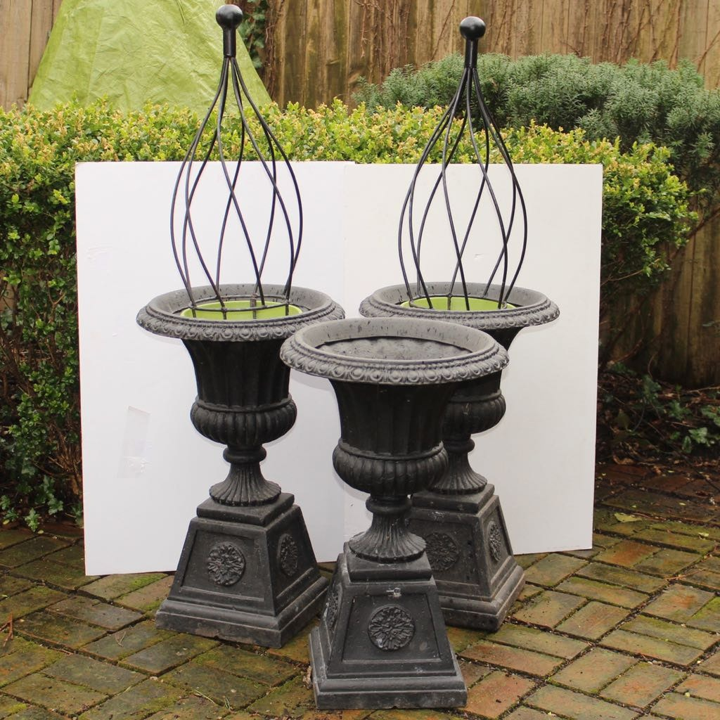 Three Classical Pedestal Resin Garden Planters With Spiral Trellis Forms ...