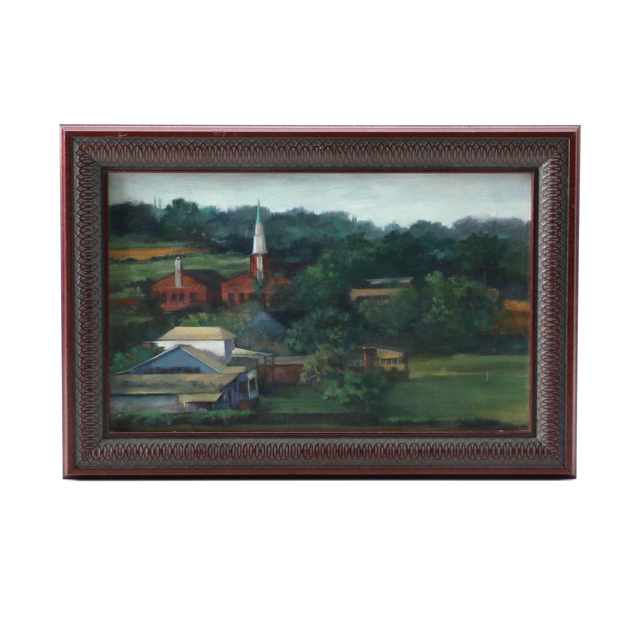 """1991 Susan Lawson-Bell Oil on Linen """"Fredericksburg Landscape"""""""