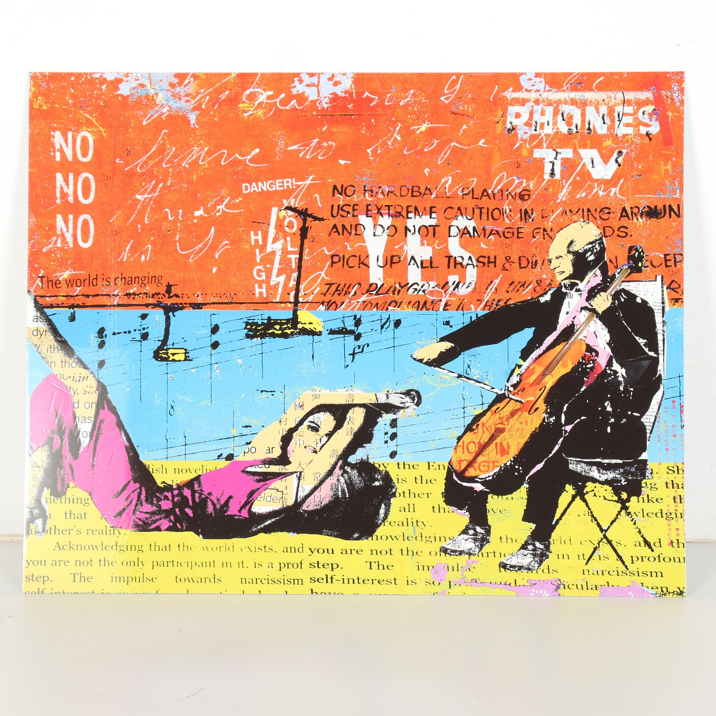 """Daryl Thetford Limited Edition Giclee on Metal """"Man with Cello"""""""