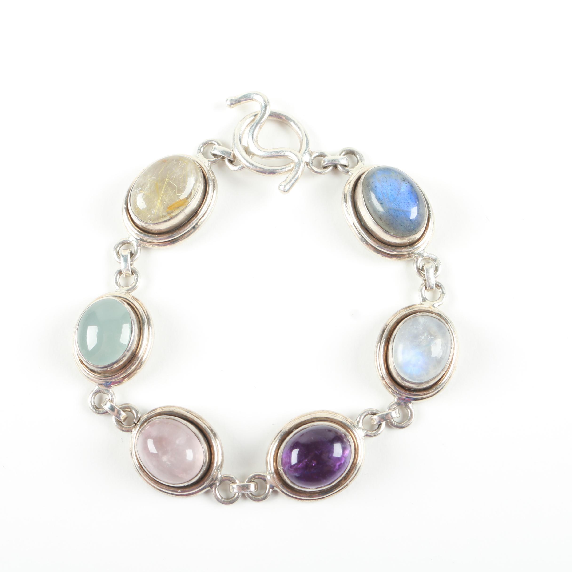 Sterling Silver Bracelet With Gemstones