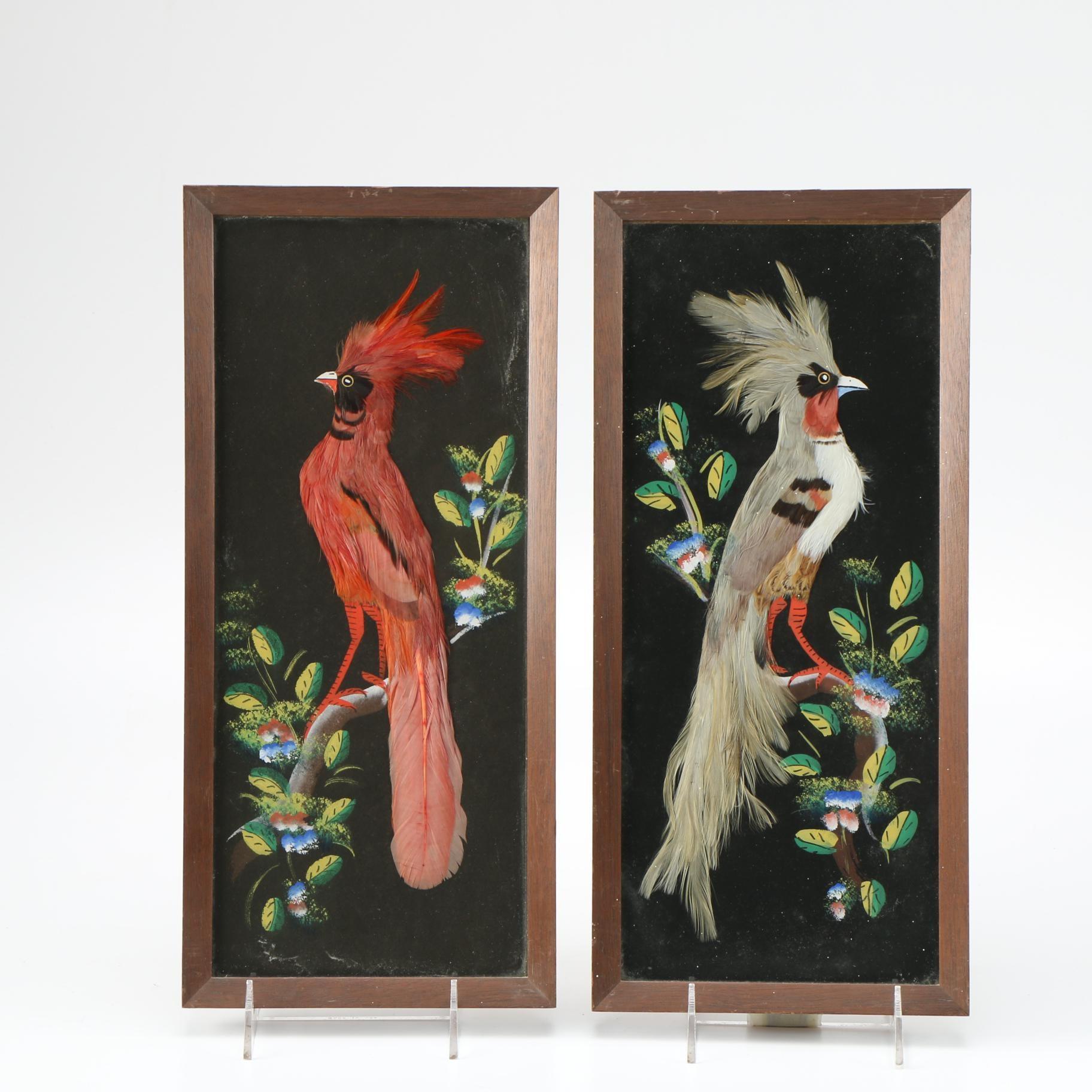 Framed Mixed Media Bird Portraits