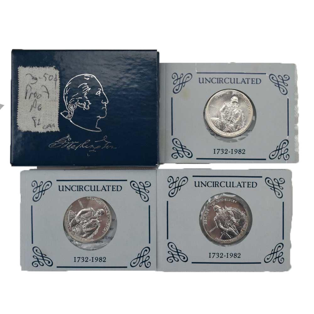 1982 George Washington Uncirculated Commemorative Half-Dollar Coins