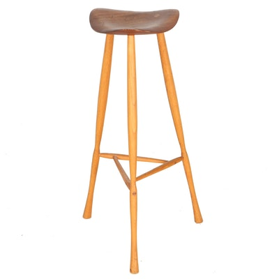 Mid Century Modern Teak Bar Stool by Karl Seemuller