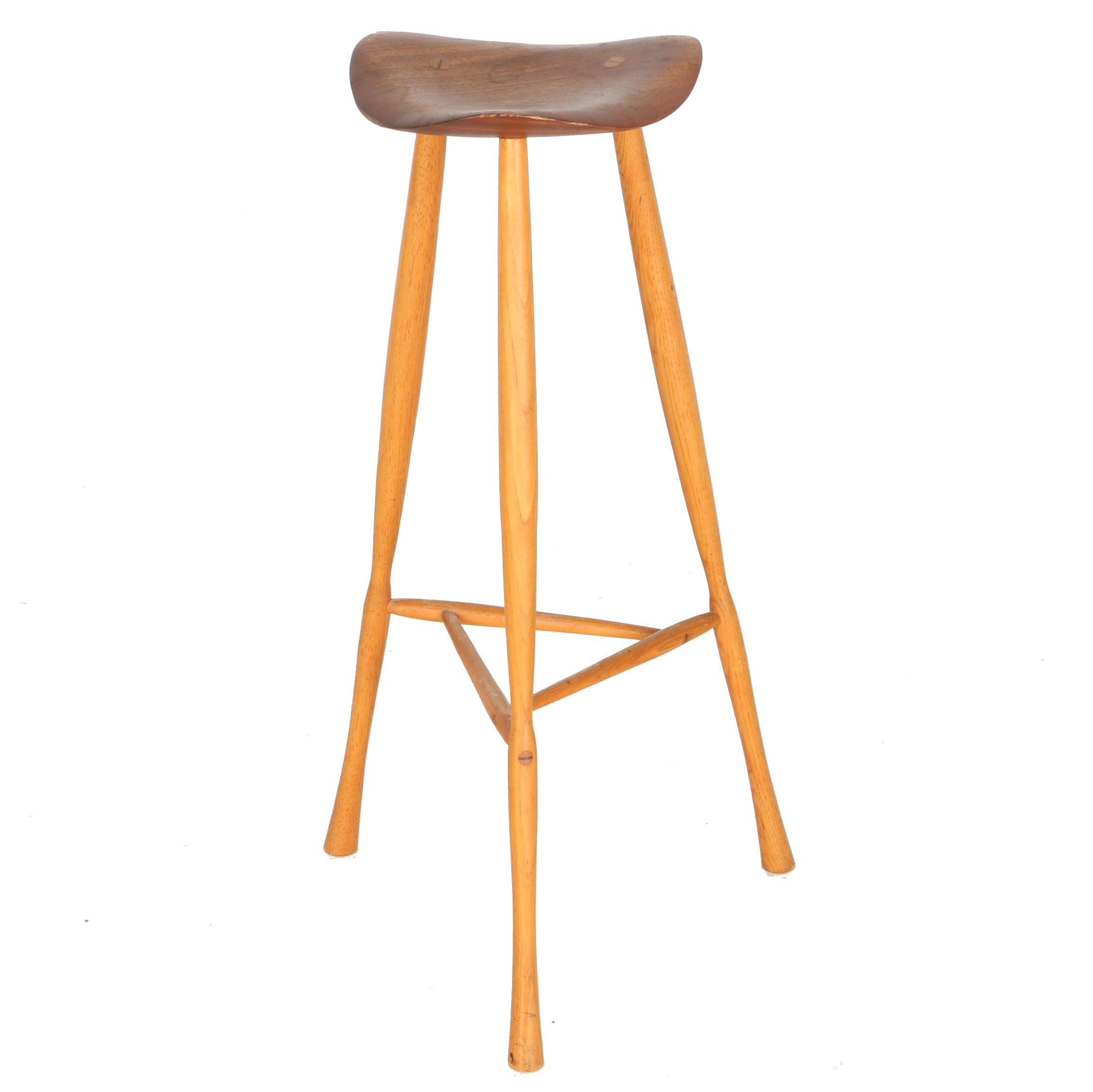 mid century modern teak bar stool by karl seemuller