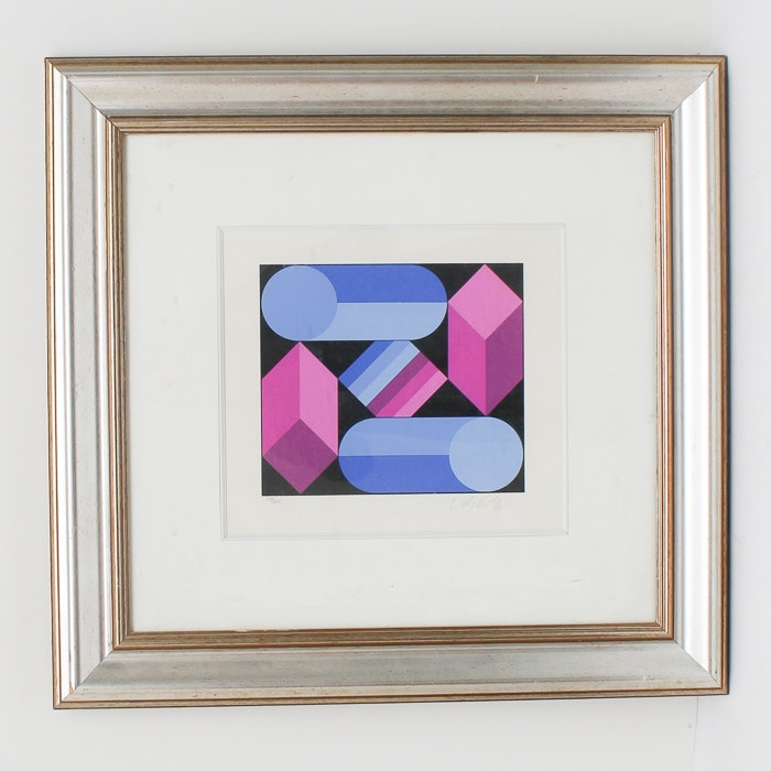 "Victor Vasarely Limited Edition Serigraph ""Stri-Dio"""