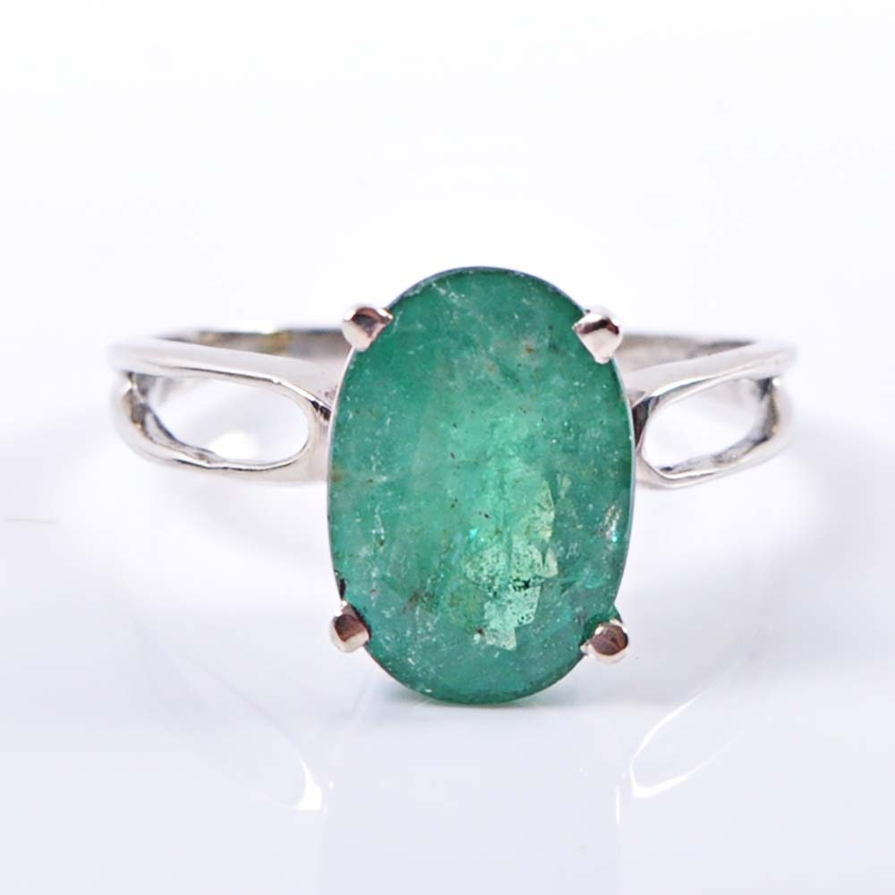14K White Gold 3.50 Carat Oval Emerald Ring