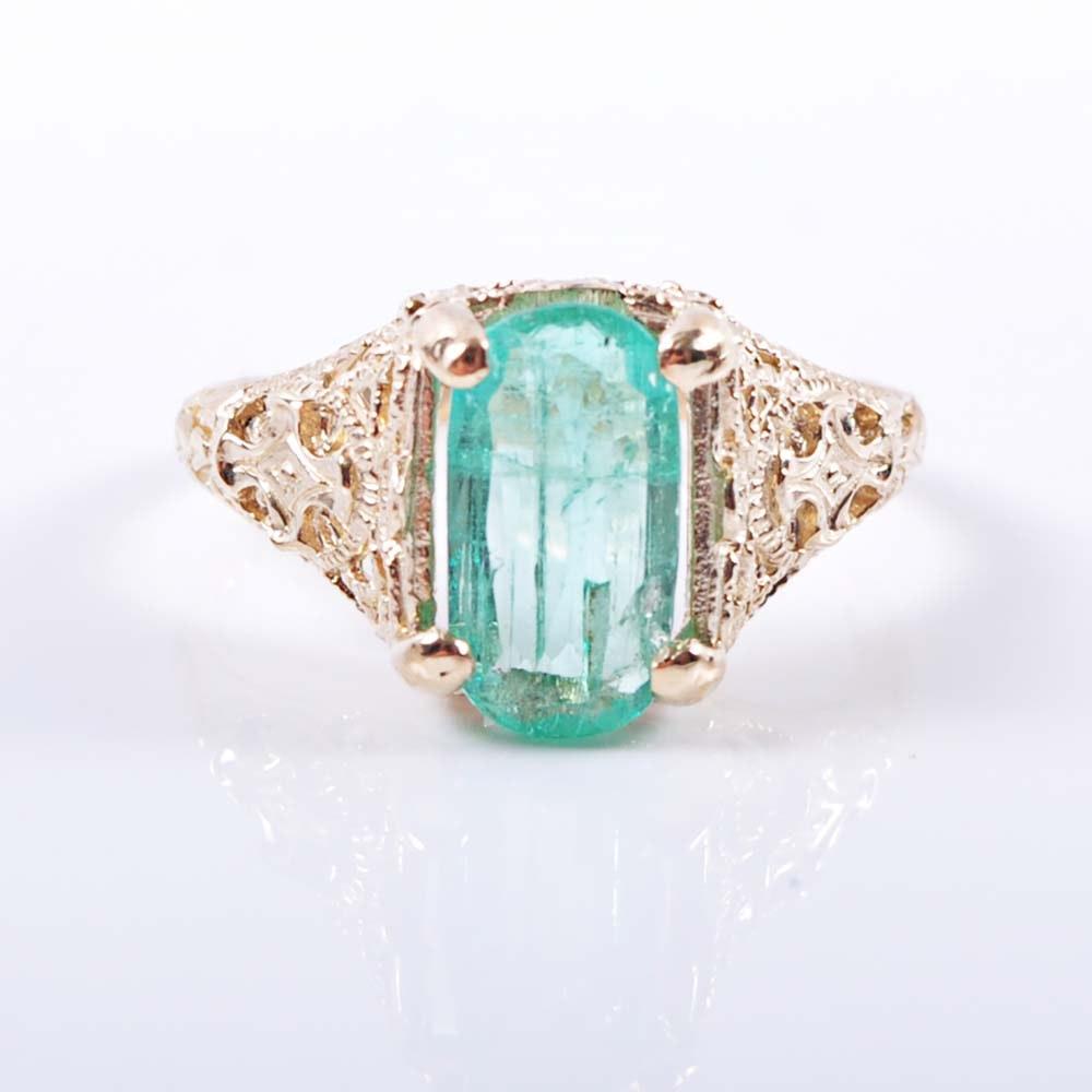 Edwardian 14K Yellow Gold 1.25 Carat Emerald Filigree Ring