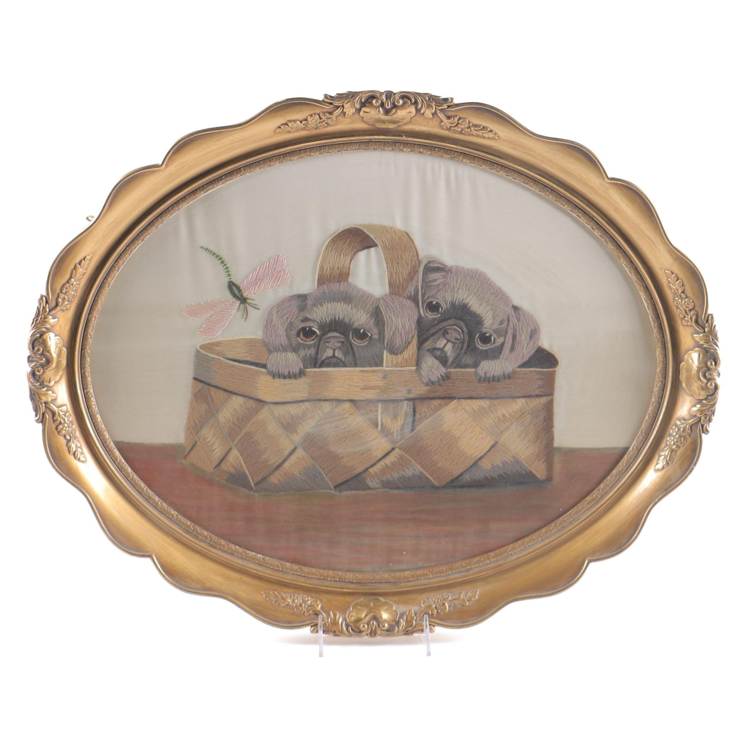 Framed Textile of Dogs From Denmark