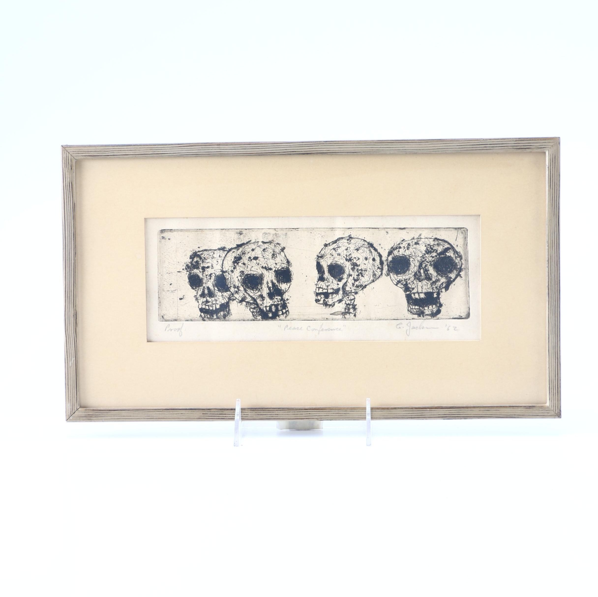 "1962 C. Jackson Artist Proof Etching ""Peace Conference"""
