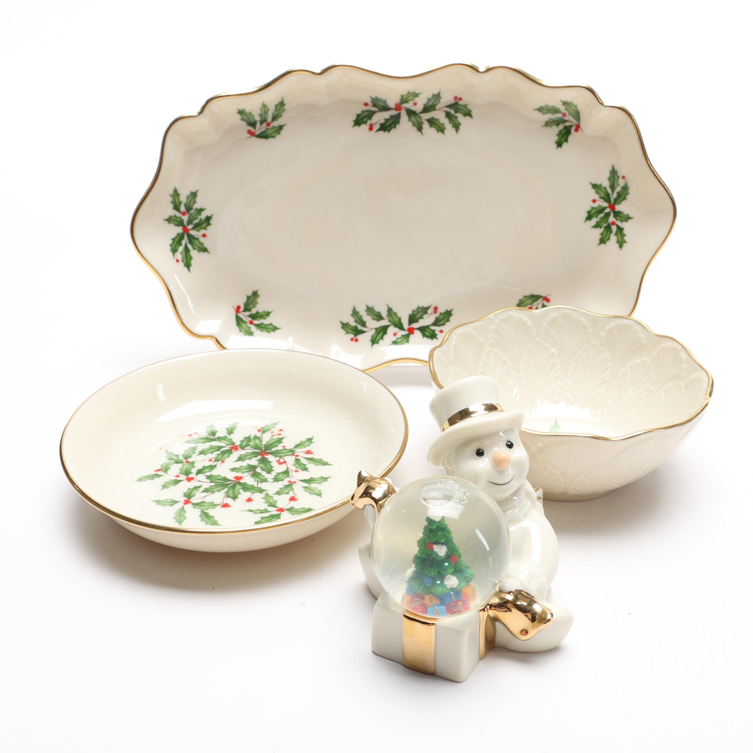 """Lenox """"Holiday"""" and """"Special"""" Dishes With Snowman Globe"""