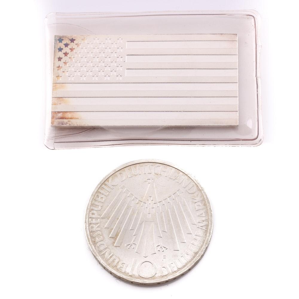 Silver Bar and a German Silver Coin