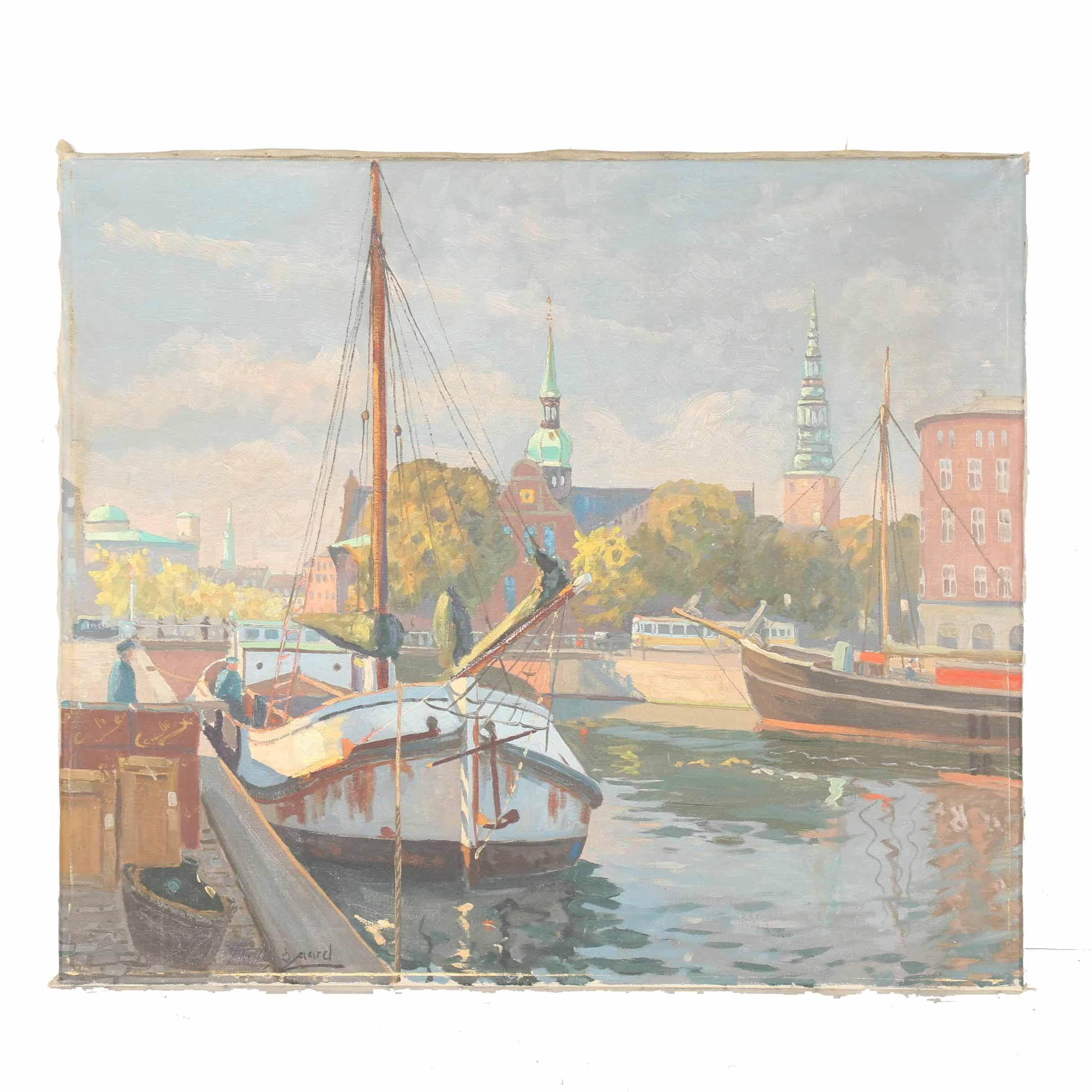 Theodor Nygaard Oil on Canvas Maritime Scene