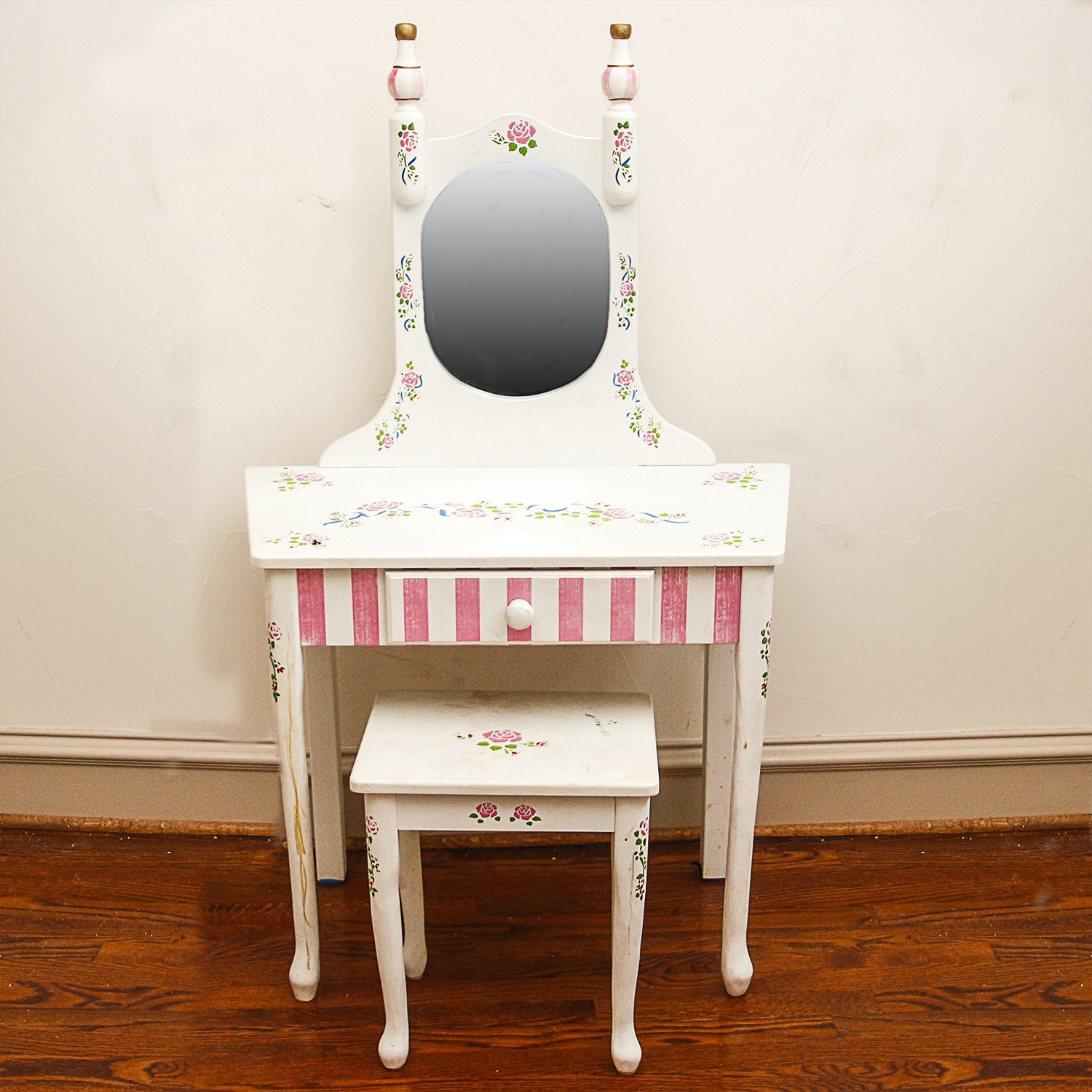 Child's Paint-Decorated Vanity and Stool