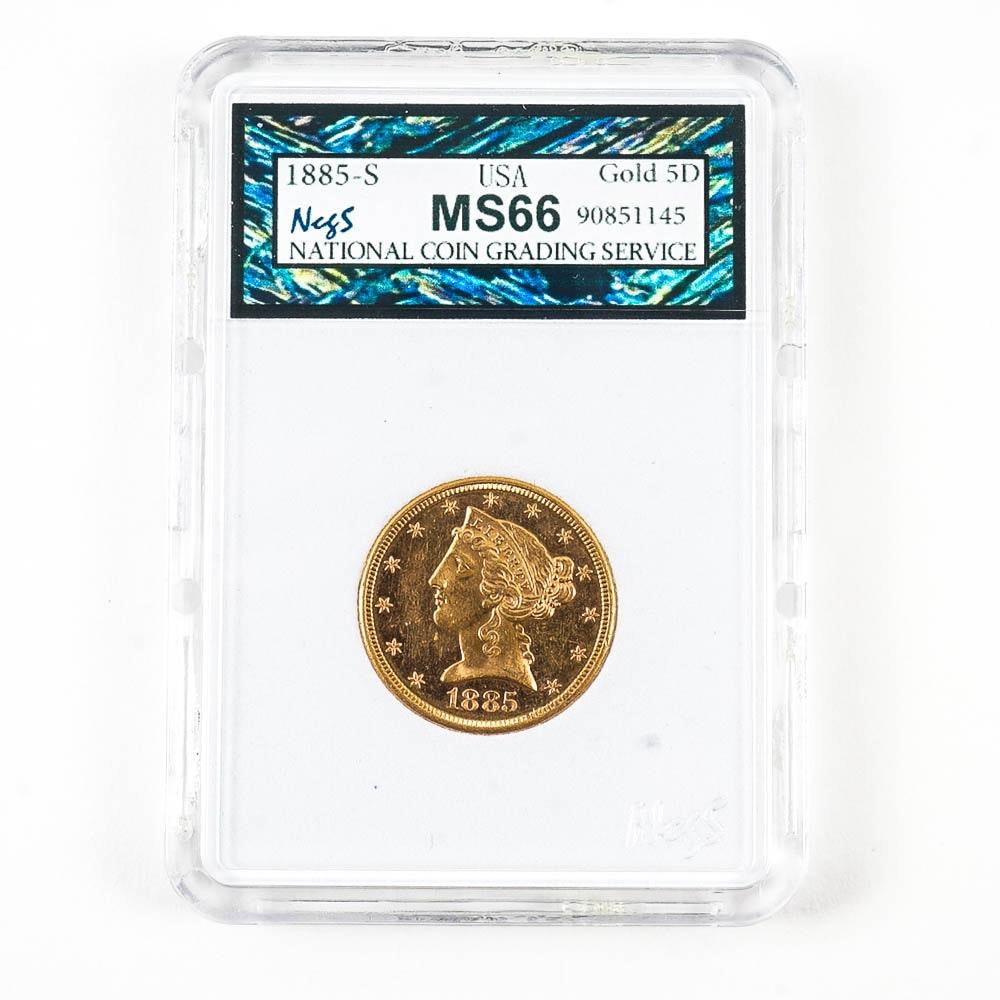 1885-S Liberty Head Five Dollar Gold Coin