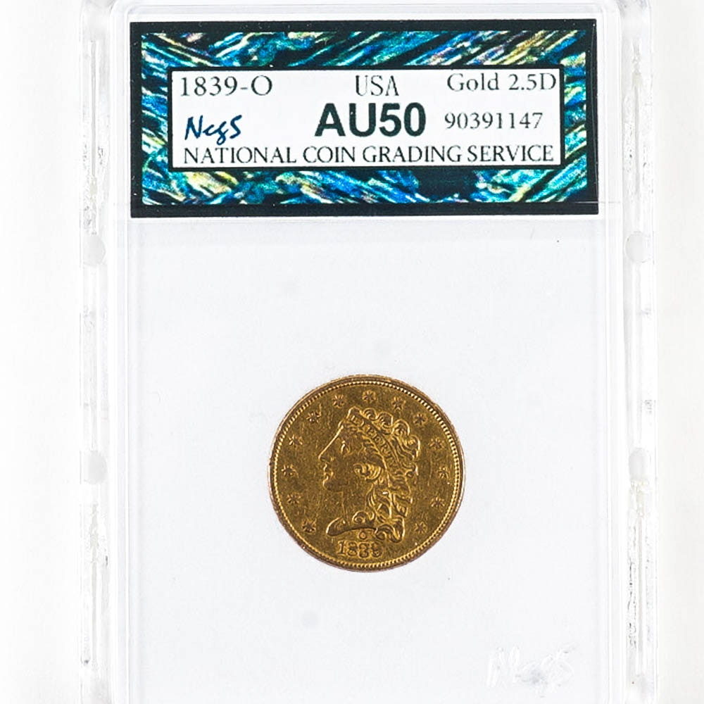 1839-O Classic Head 2.5 Dollar Gold Coin