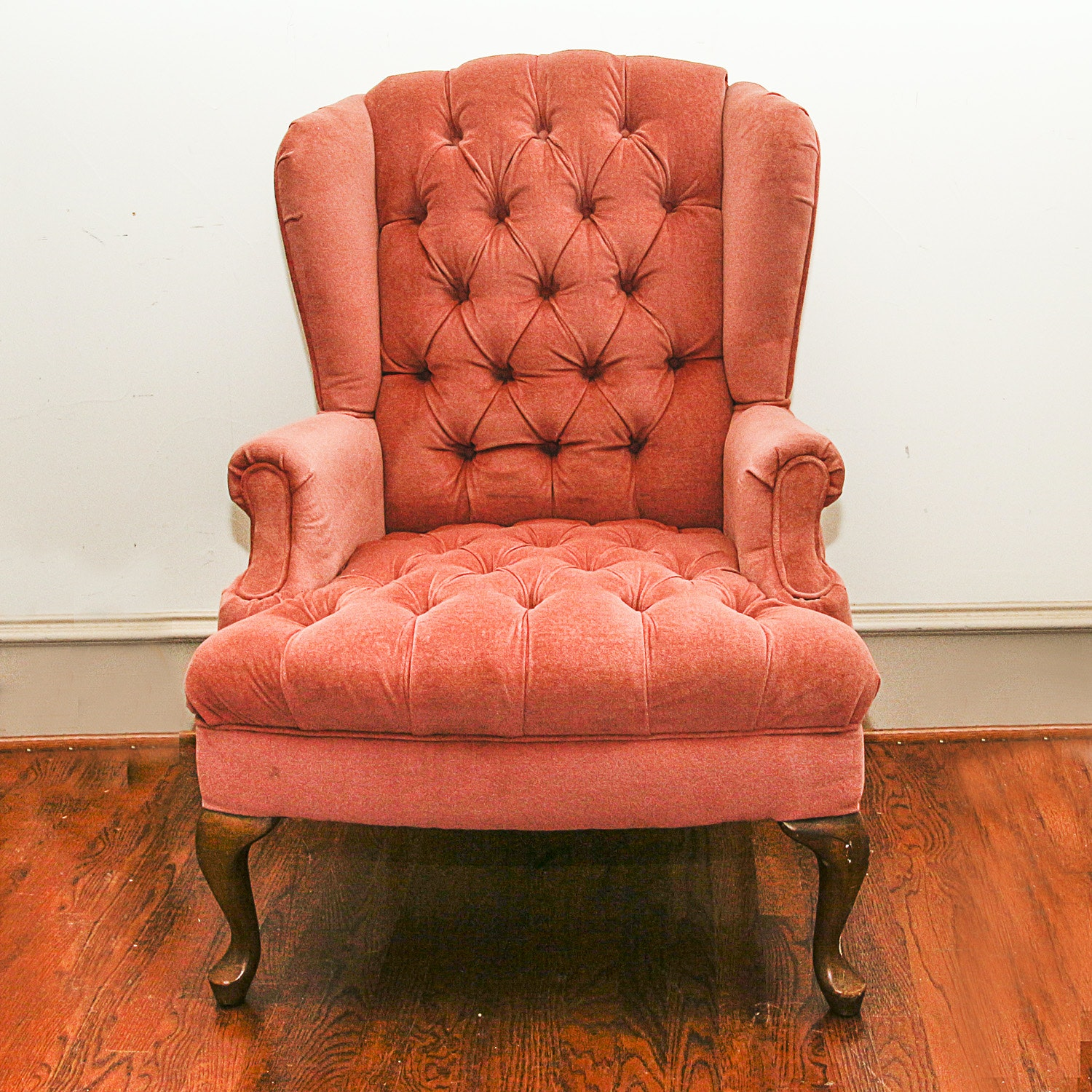 Vintage Queen Anne Style Button-Tufted Wing Chair