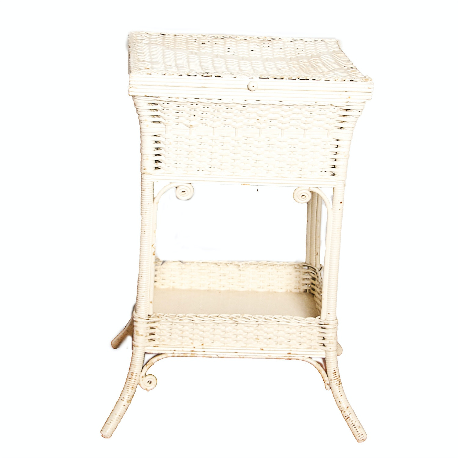White Wicker Sewing Stand