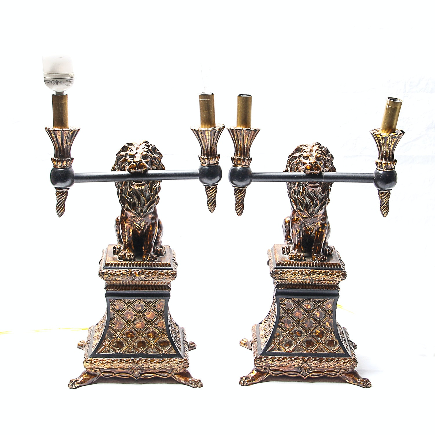 Pair of Lion Statue Lamps