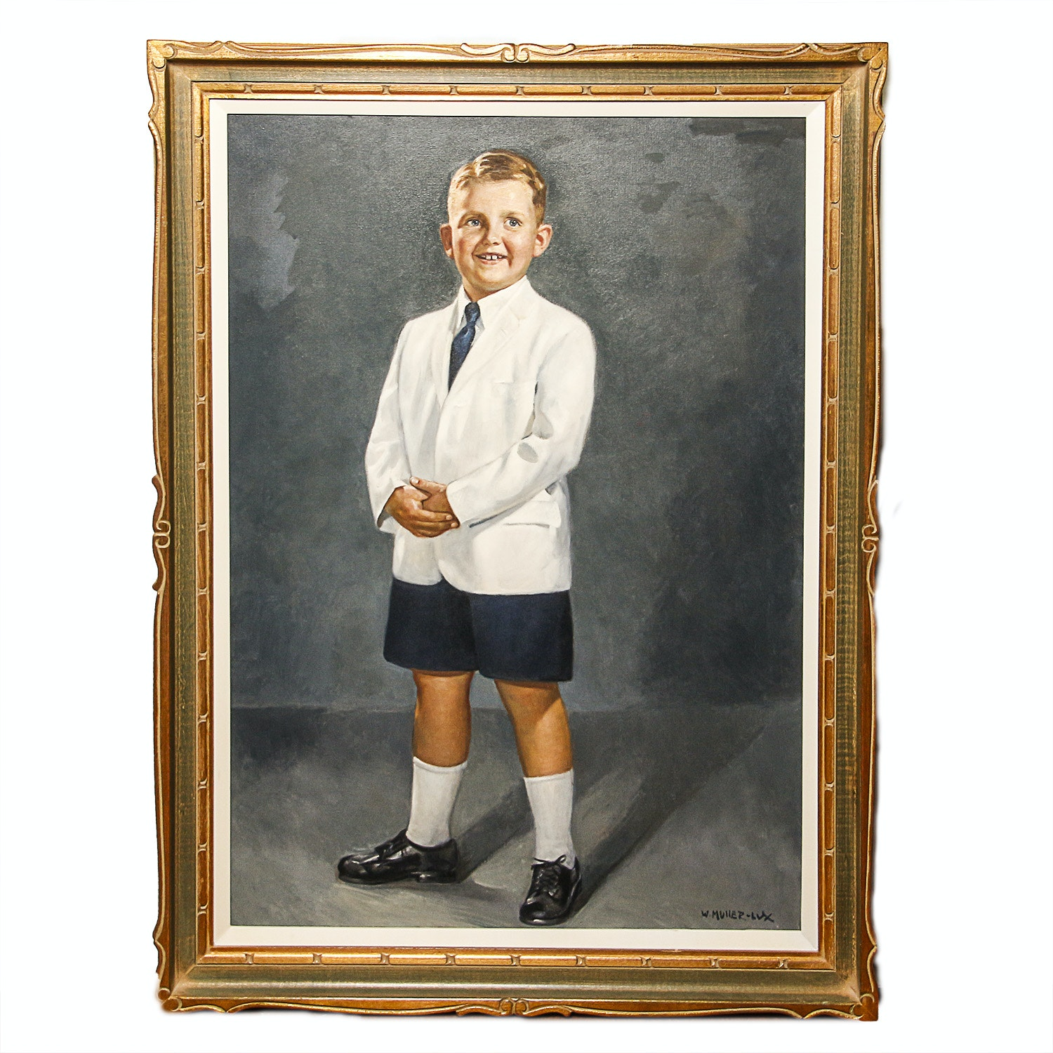Original Oil Painting of a Young Boy by W. Muller-Lux