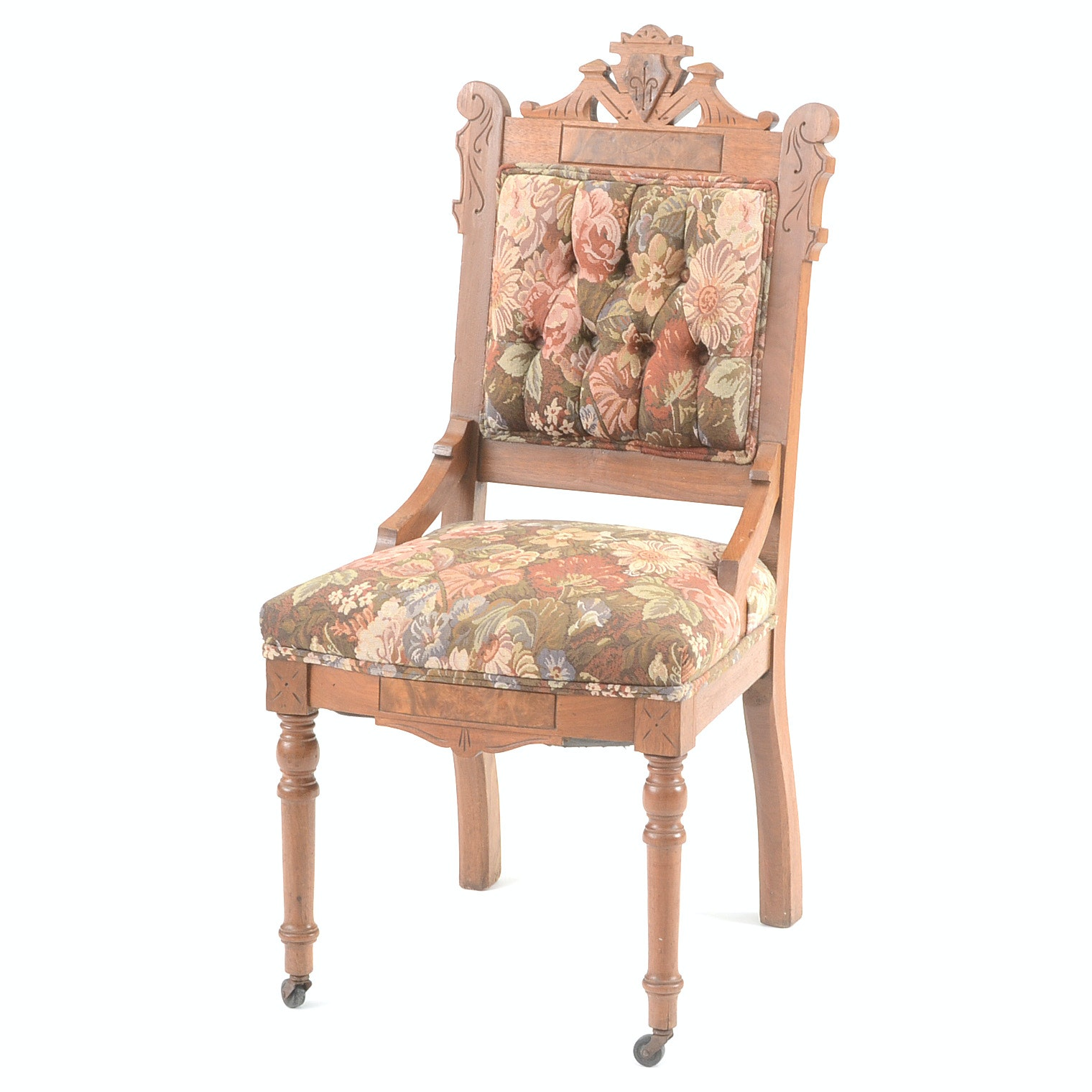 Victorian Eastlake Walnut Parlor Chair