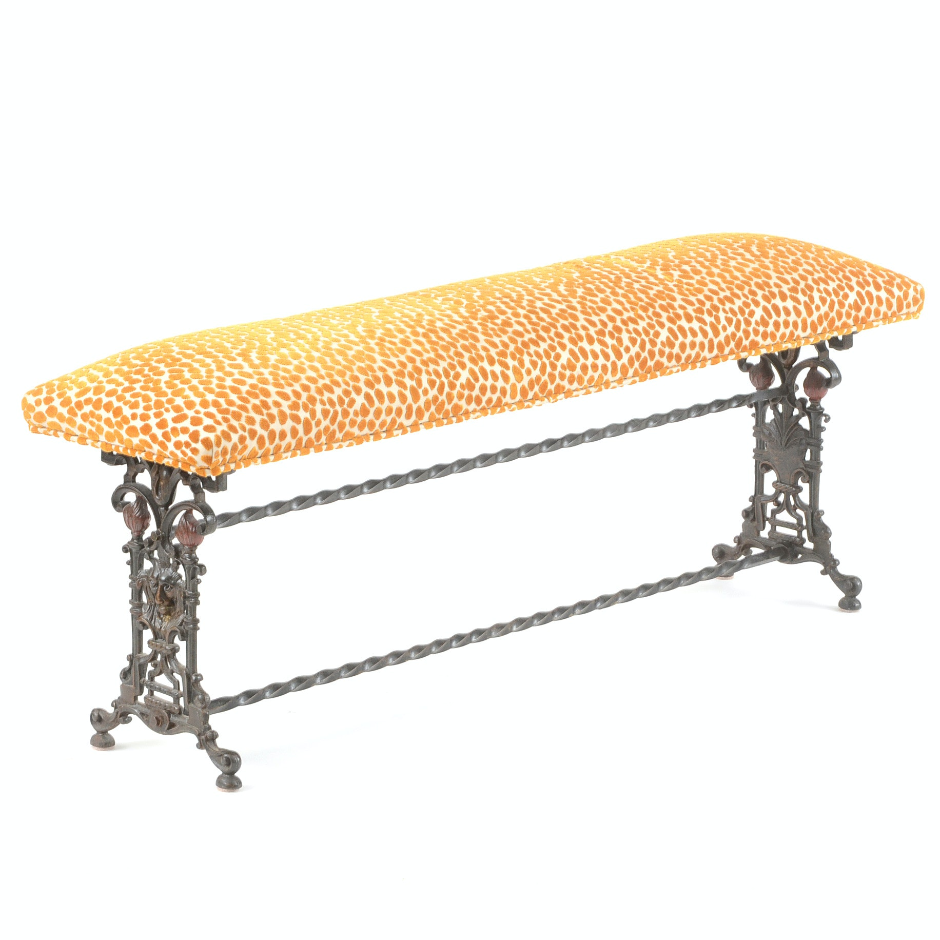Upholstered Cast Iron Bench