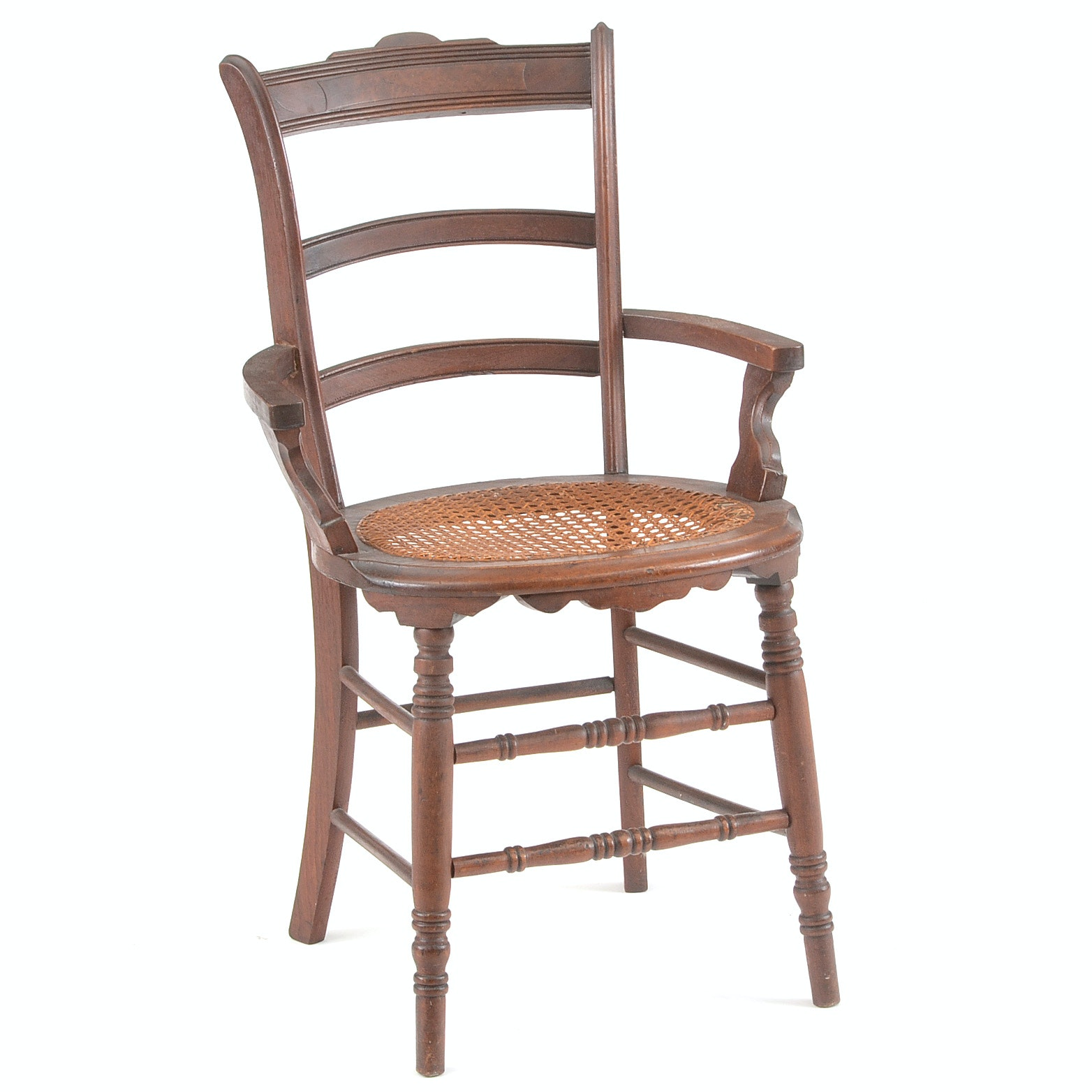 Antique Walnut Caned Arm Chair